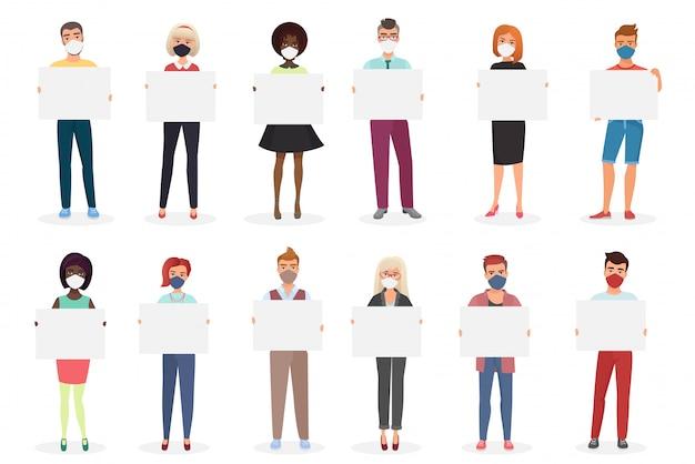 Muitas pessoas em máscaras segurar cartazes conjunto de ilustração dos desenhos animados