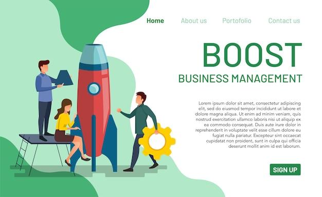 Muitas pessoas estão trabalhando para melhorar o desempenho da gestão. página inicial para impulsionar a gestão empresarial