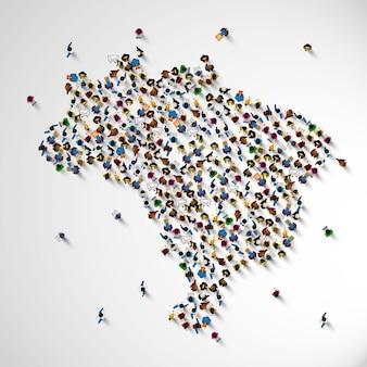 Muitas pessoas no brasil assinam mapa. ilustração vetorial