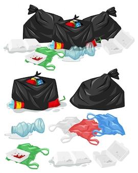 Muitas pilhas de lixo com sacos de plástico e ilustração de garrafas