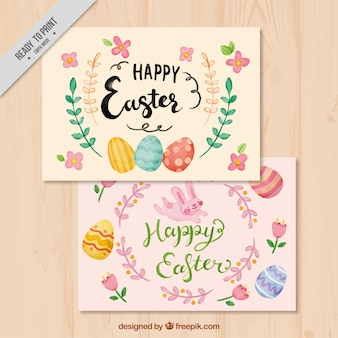 Muito feliz cartões dia easter com detalhes florais aquarela