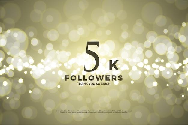 Muito obrigado 5k seguidores com bokeh dourado