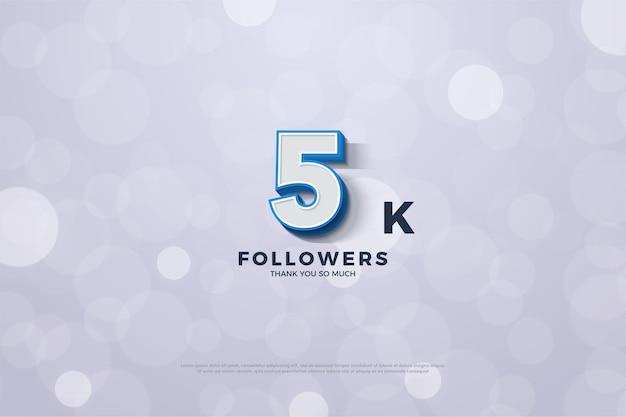Muito obrigado 5k seguidores com figuras tridimensionais e bordas azuis em negrito.