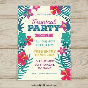 Muito retro folheto festa tropical com flores