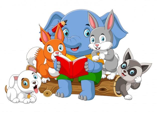 Muitos animais lendo livro com grande elefante