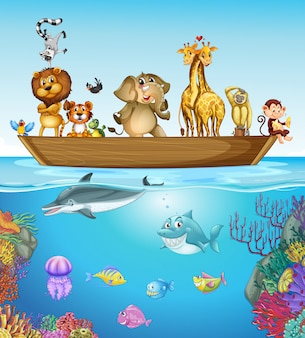 Muitos animais no barco de madeira