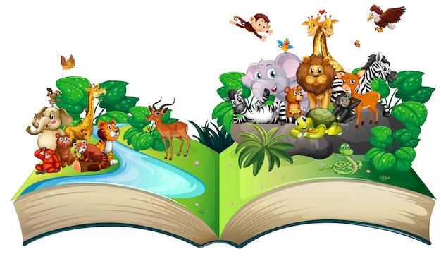 Muitos animais selvagens na floresta
