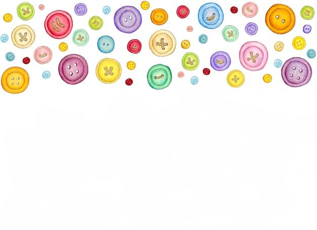 Muitos botões de costura coloridos diferentes em fundo branco