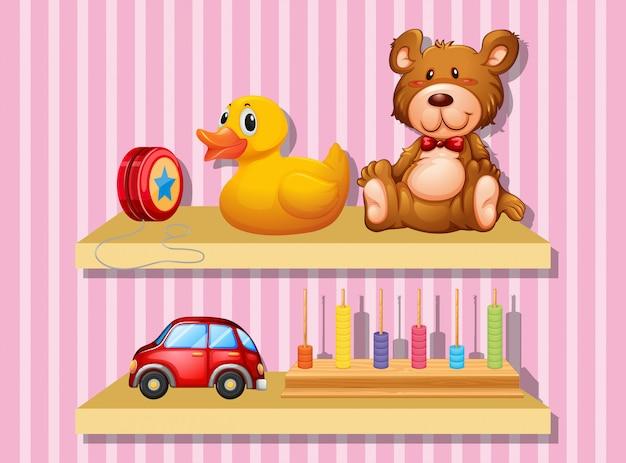 Muitos brinquedos na prateleira de madeira