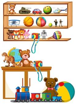 Muitos brinquedos nas prateleiras de madeira