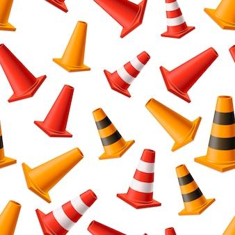 Muitos cones de estrada amarelo e vermelho brilhante, sem costura padrão em branco