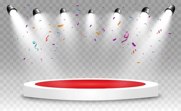 Muitos confetes minúsculos coloridos e fitas em fundo transparente. confetes brilhantes coloridos isolados no pódio.