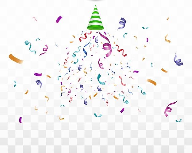Muitos confetes minúsculos coloridos e fitas em fundo transparente. evento festivo e festa. confetti brilhante colorido sobre fundo transparente