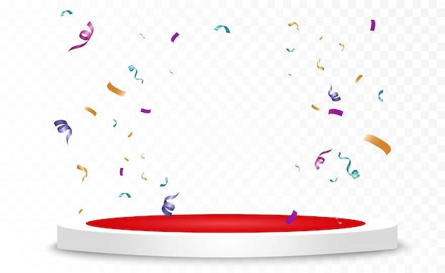 Muitos confetes minúsculos coloridos e fitas em fundo transparente. evento festivo e festa. fundo multicolor. confetes brilhantes coloridos isolados no pódio.