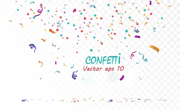 Muitos confetes minúsculos coloridos e fitas em fundo transparente. evento festivo e festa. fundo multicolor. confetes coloridos brilhantes isolados em fundo transparente