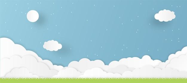 Muitos cortes de papel de nuvem geralmente nublados com ilustração de grama