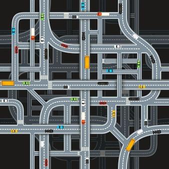 Muitos cruzamentos de estradas em fundo escuro com carros, padrão uniforme de vista superior