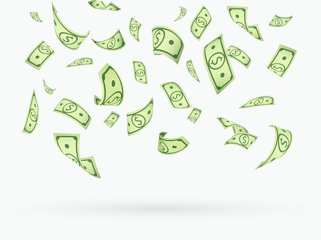 Muitos dólares moeda caindo ilustração isolada
