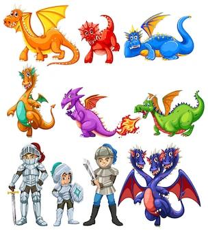 Muitos dragões e cavaleiros no fundo branco
