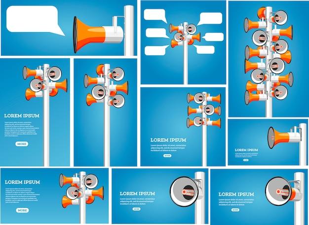 Muitos megafones estão pendurados no mastro. promoção da informação, marketing e publicidade.