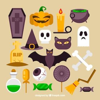 Muitos objetos de halloween em um design plano