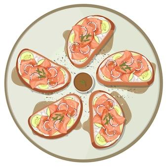 Muitos pães com salmão defumado no topo