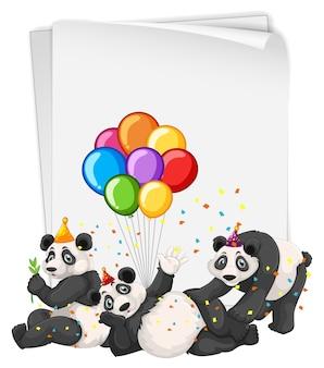 Muitos pandas em tema de festa