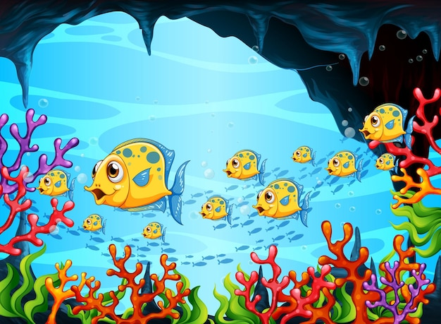 Muitos peixes exóticos personagem de desenho animado na cena subaquática com corais