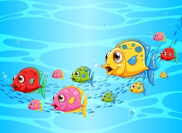 Muitos peixes exóticos personagem de desenho animado na cena subaquática