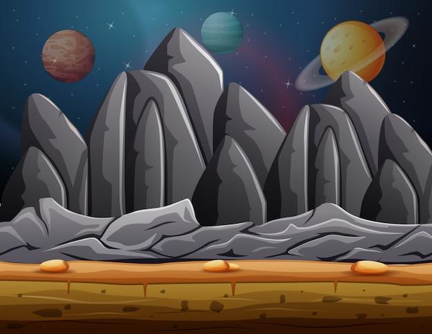 Muitos planetas na paisagem espacial