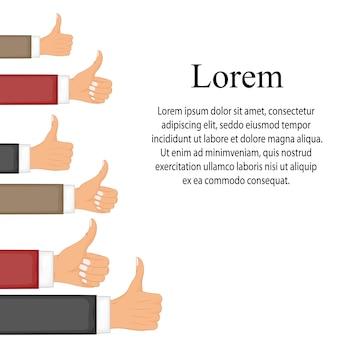 Muitos polegares para cima. gosta de redes sociais, aprovação, conceito de feedback de clientes. conceitos de design moderno plano para banners web, sites da web, materiais impressos, infográficos. ilustração em vetor criativo.