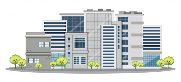 Muitos prédios de escritórios na cidade