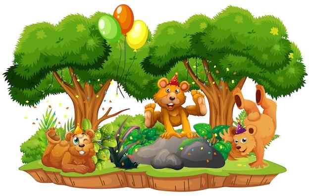 Muitos ursos no tema da festa no fundo da floresta da natureza isolado