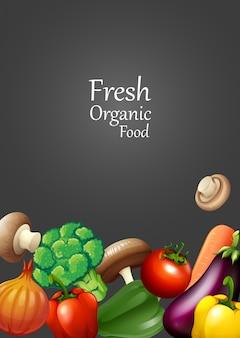 Muitos vegetais e design de texto