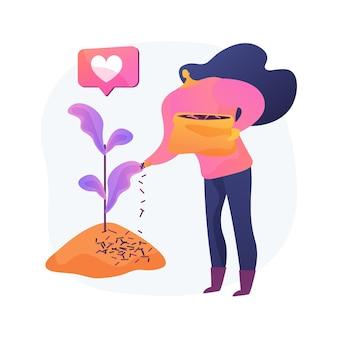 Mulching plants ilustração em vetor conceito abstrato. cobertura de solo, proteção de plantas, controle de ervas daninhas, retenção de umidade, canteiro de jardim, aparas de madeira, tecido de paisagem, metáfora abstrata de cobertura morta decorativa.