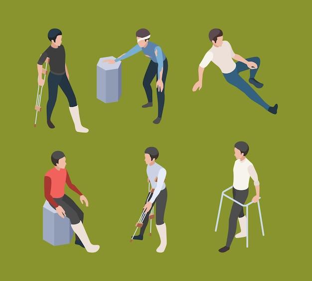 Muletas de reabilitação ortopédica médica de pessoa adulta humana isométrica.