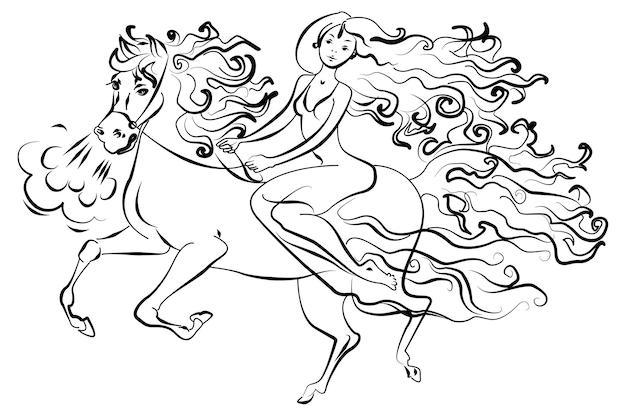 Mulher a cavalo. isolado no fundo branco, ilustração vetorial