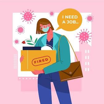 Mulher a perder o emprego devido a crise de coronavírus