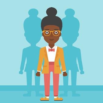Mulher à procura de ilustração vetorial de emprego.