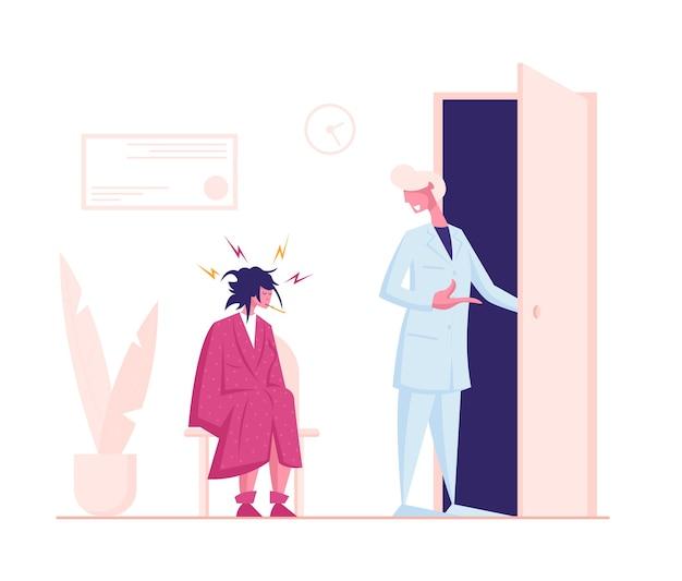 Mulher abatida com manto com termômetro na boca, sentada na clínica ou no hospital