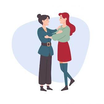 Mulher abraça uma mulher.