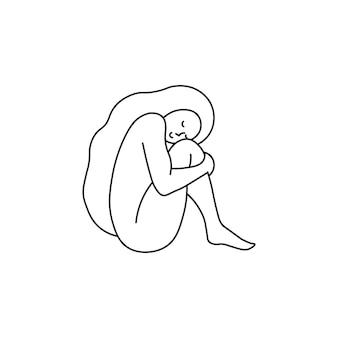 Mulher abraçando a si mesma ilustração vetorial para amar a si mesma, corpo positivo