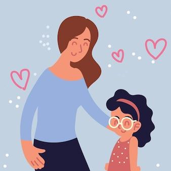 Mulher abraçando uma garotinha
