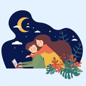 Mulher, abraço, homem, em, a, céu noite