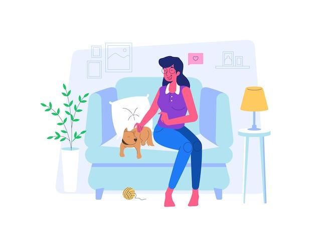 Mulher acariciando um cachorro durante covid19 situação de pandemia estilo cartoon plana