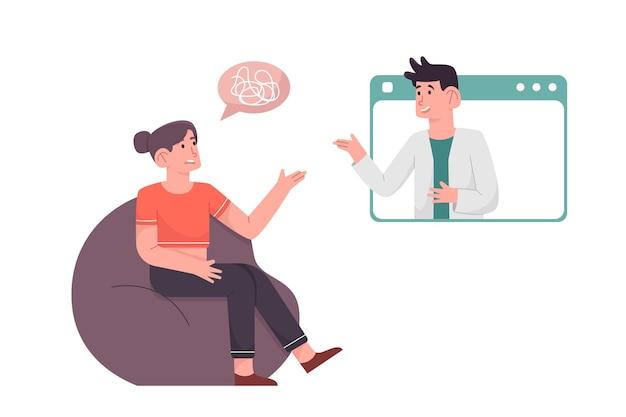 Mulher aconselhando psicólogo sobre seu problema