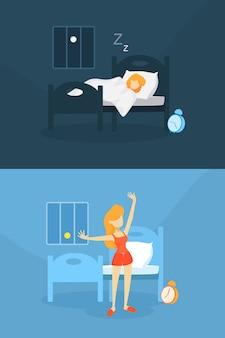 Mulher acordando de manhã depois de dormir.
