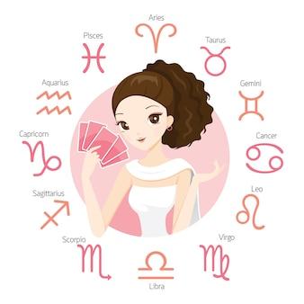 Mulher adivinhadora e carta de tarô com 12 signos astrológicos do zodíaco