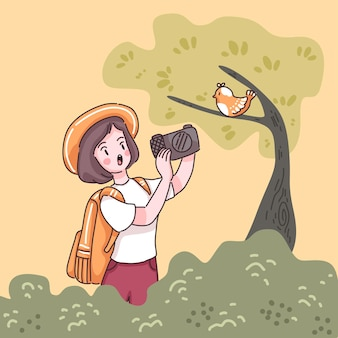 Mulher adolescente viajante com mochila, usar câmera, tirar uma foto com pássaro em uma árvore na floresta, ilustração plana do estilo do personagem de desenho animado