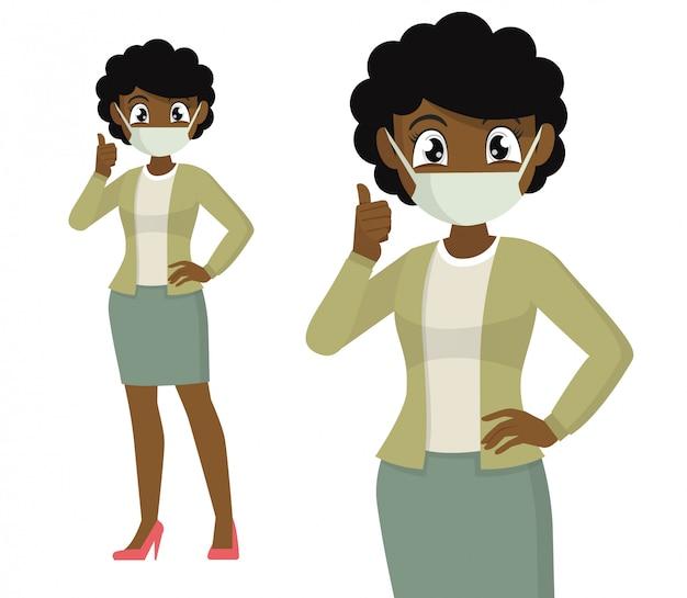 Mulher africana, cobrindo o rosto com máscara médica e mostrando os polegares para cima símbolo.